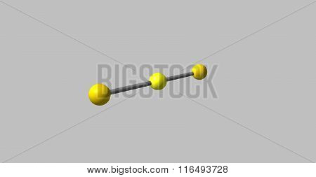 Carbon Disulfide Molecular Structure Isolated On Grey