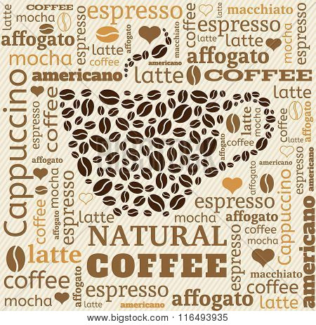 coffee cup typography from words on fabric background with word cloud