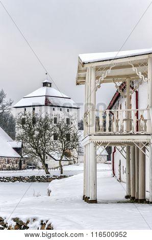 Hovdala Castle Balcony In Winter