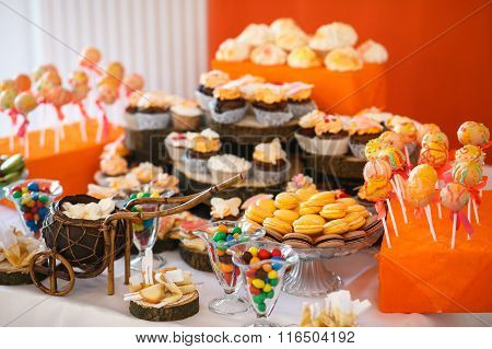 Stylish Luxury Decorated Orange Candy Bar For The Celebration Of A Wedding Of Happy Couple, Catherin