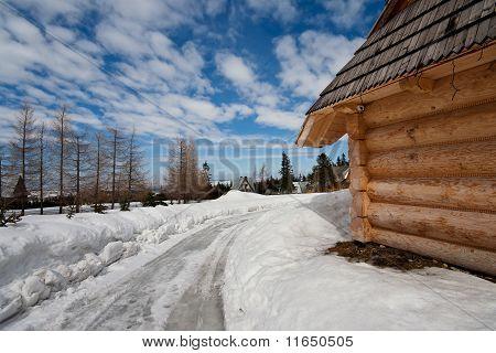 Traditional Polish Hut In Zakopane During Winter Season