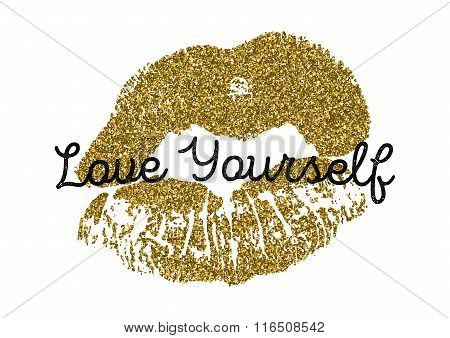 Poster with gold glitter lips prints on white background.