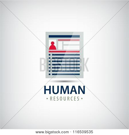 Vector human resources, resume, career finder, cv icon,