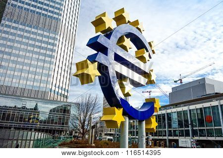 Frankfurt, Germany - January 27 : Euro Sign. European Central Bank (ECB) is the central bank for the euro and administers the monetary policy of the Eurozone. January 27, 2016 in Frankfurt, Germany.
