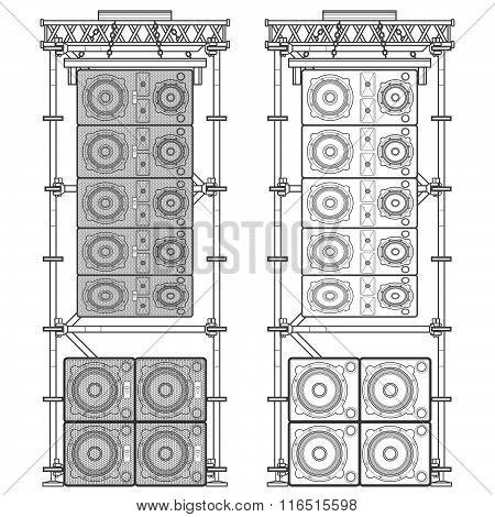 Line Array Concert Acoustics Scaffold Suspension Illustration.