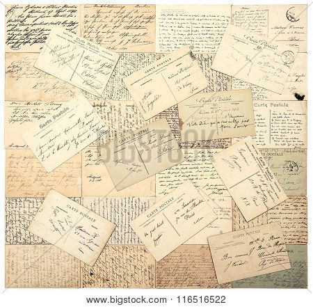 vintage postcards. old handwritten undefined texts from ca. 1900. grunge retro style papers background poster