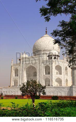 Famous Taj Mahal mausoleum in Agra, India poster