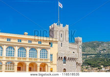 Fragment of the Princes Palace of Monaco in Monaco-Ville, Monaco