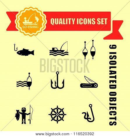 fishing guality icons set