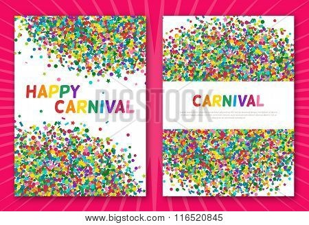 Colorful carnival confetti greeting cards