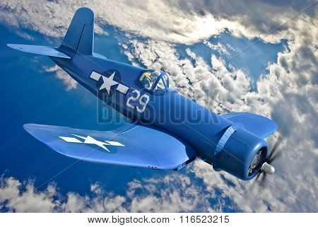 American Carrier-based Fighter Is Flying Against The Blue Sky