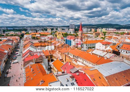view on roofs in Kosice from St. Elisabeth cathedral poster