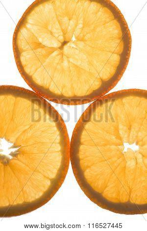 sliced oranges close up