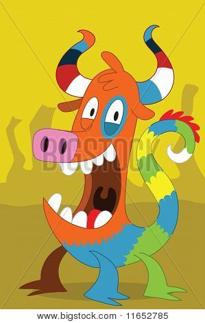 Taurus Pig-like Alien Monster With Clown Dragon Tail