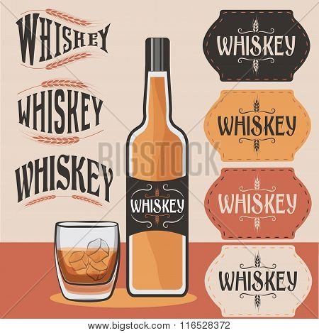Retro Collection Of Whiskey Bottle,glass Of Whiskey With Ice And Whiskey Labels