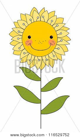Smiling Flower Isolated On White