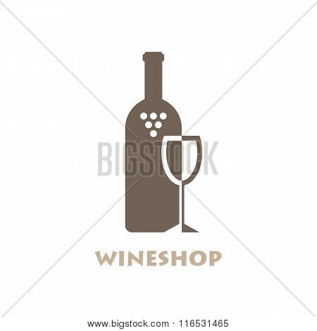 Wine Shop Or Bar Logo. Negative Space Style Logotype. Vector