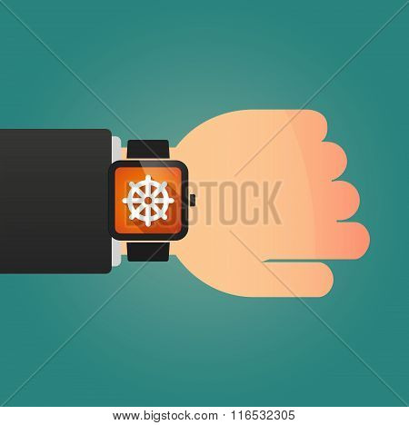 Isolated Smart Watch Icon With A Dharma Chakra Sign