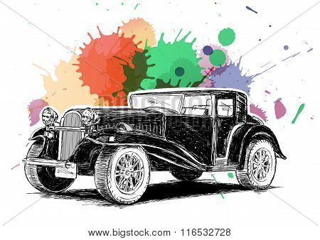 Vintage Retro Classic Old Car With Colorful Ink Spatter Vector Illustration