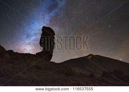 Starry night and milky way in Teide national park canary Islands Spain.