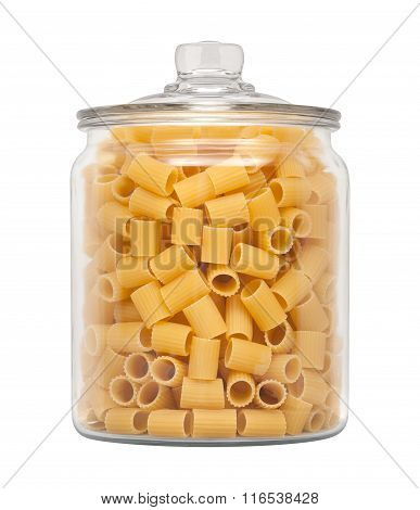 Rigatoni Pasta In A Glass Apothecary Jar