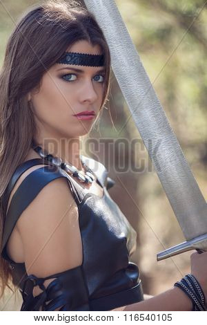 woman with sword, cosplay fantasy fiction