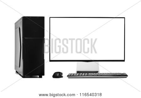 Desktop computer isolated on a white background. poster