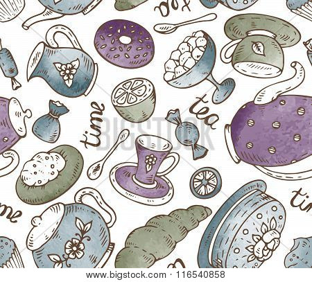 Tea Time Seamless Pattern With Doodle Elements And Watercolor Texture