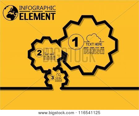 Infographic Simple Template With Steps Parts Options Elements Gear