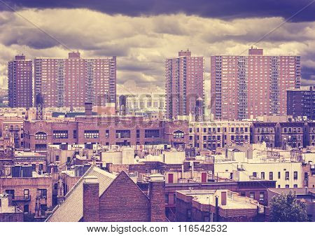 Vintage Toned Photo Of New York Residential Buildings, Harlem, Usa.