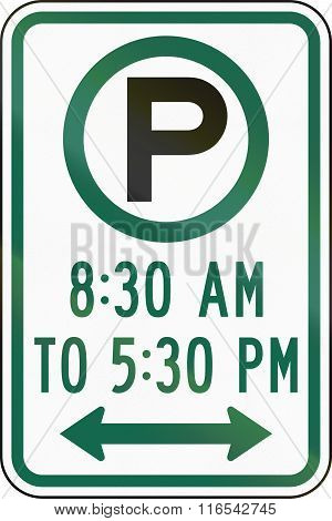 United States Mutcd Regulatory Road Sign - Parking At Specified Times
