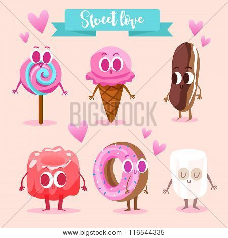 A set of cute sweets. Illustration with funny characters. Love and hearts. Funny food. candy, eclair