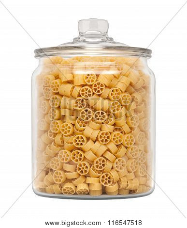 Mini Wheel Pasta In A Glass Apothecary Jar