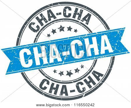 Cha-cha Blue Round Grunge Vintage Ribbon Stamp