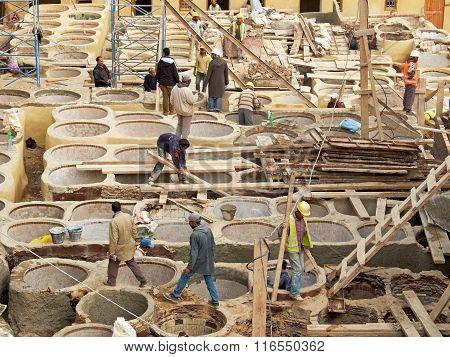 Laborers Working On Rehab In The Chouwara Leather Tannery In The Fez El Bali Medina.