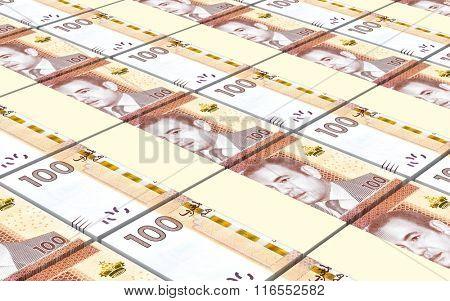 Moroccan dirhams bills stacks background. Computer generated 3D photo rendering.