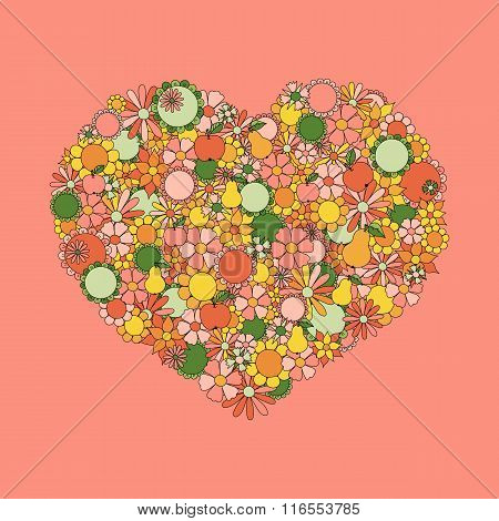 Heart Made Of Hand Drawn Flowers, Fruits, Leaves, Doodles. All T
