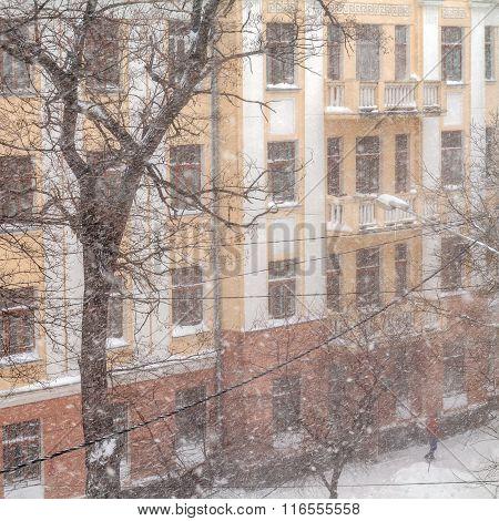 A Powerful Cyclone, Storm, Heavy Snow Paralyzed The City.