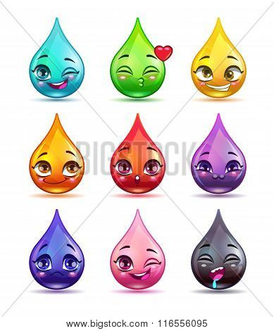 Cute cartoon colorful drop characters