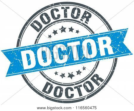 Doctor Blue Round Grunge Vintage Ribbon Stamp