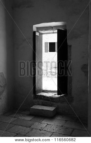 Old house door open to see the street