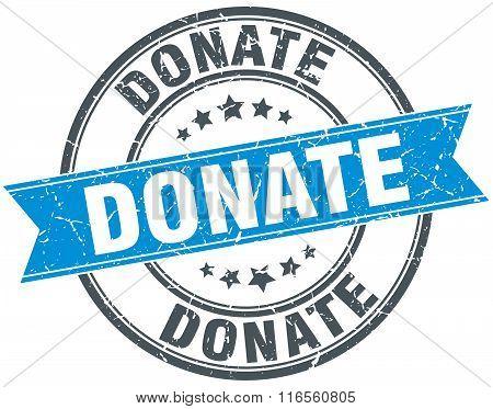 Donate Blue Round Grunge Vintage Ribbon Stamp