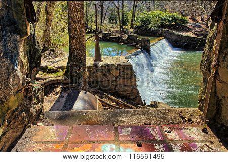 Lullwater Waterfall Spillway Through a window