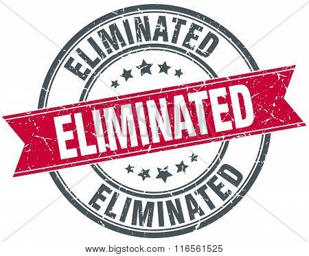 eliminated red round grunge vintage ribbon stamp