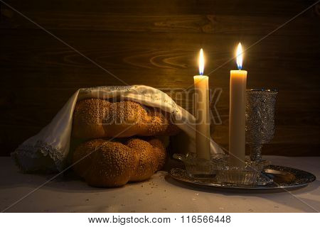 Shabbat Shalom - Wine, Challah And Candles