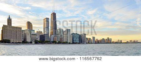 Huge Chicago coastal area panorama at sunset