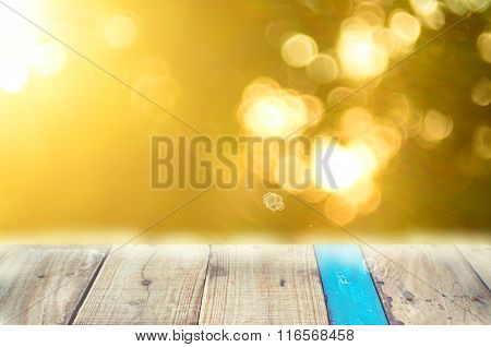 Nature Autumn Leaf Bokeh With Sun Light On Old Empty Wood Table Background.product Presentation In N