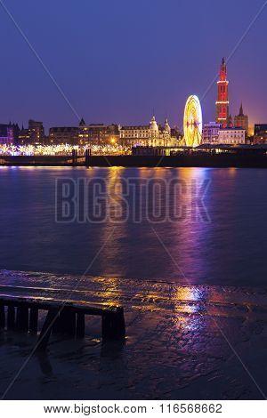 Panorama Of Antwerp Across Scheldt River