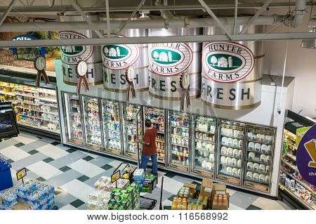 Falls Church, VA USA - October 25 2015: An unusual high vantage point provides an overview of a modern tw0-story grocery store catering to demands for quality and organic products.