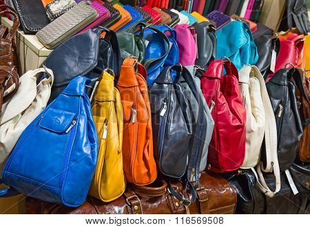 ISTANBUL - MAY 3: Faked bags on sale on the narrow street around Grand Bazaar on Mal 3, 2015 in Istanbul, Turkey. Area around Grand Bazaar is well known seeling place for replica shoes, bags and jeans